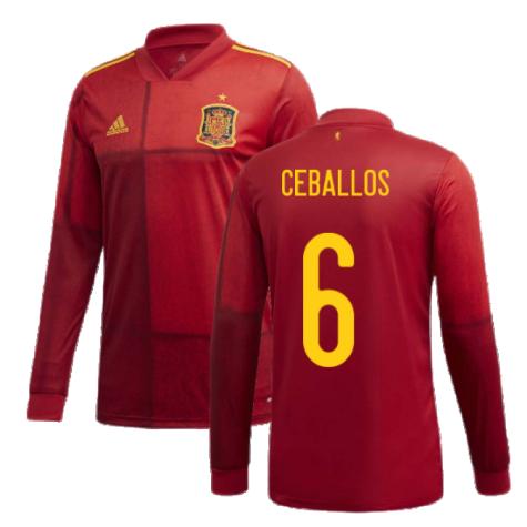 2020-2021 Spain Home Adidas Long Sleeve Shirt (CEBALLOS 6)