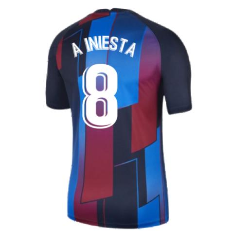 2021-2022 Barcelona Pre-Match Training Shirt (Blue) - Kids (A INIESTA 8)
