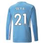 2021-2022 Man City Long Sleeve Home Shirt (SILVA 21)