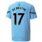 2021-2022 Man City Pre Match Jersey (Light Blue) (DE BRUYNE 17)