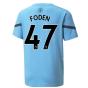 2021-2022 Man City Pre Match Jersey (Light Blue) (FODEN 47)
