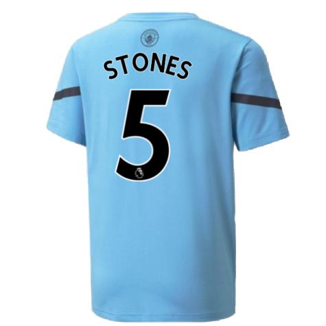 2021-2022 Man City Pre Match Jersey (Light Blue) (STONES 5)