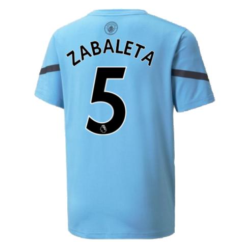 2021-2022 Man City Pre Match Jersey (Light Blue) (ZABALETA 5)