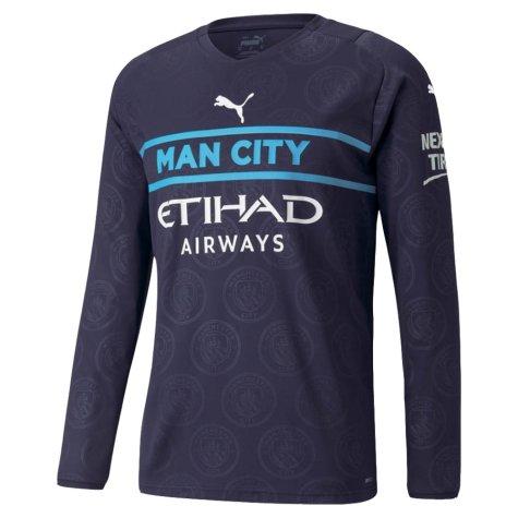 2021-2022 Man City Long Sleeve Third Shirt (SILVA 21)