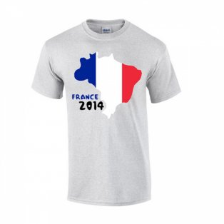 France 2014 Country Flag T-shirt (grey)