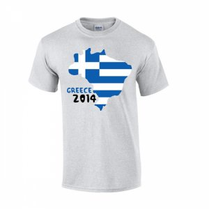 Greece 2014 Country Flag T-shirt (grey)