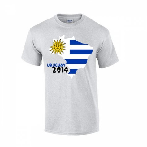 Uruguay 2014 Country Flag T-shirt (grey)