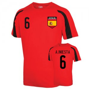 Spain Sports Training Jersey (a.iniesta 6) - Kids