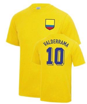 Carlos Valderrama Colombia World Cup Football T Shirt - Yellow
