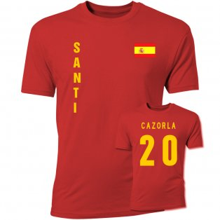 Santi Cazorla Spain Flag T-Shirt (Red)