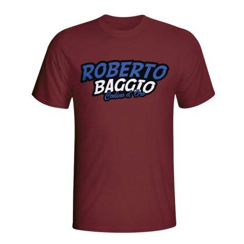 Roberto Baggio Comic Book T-shirt (maroon) - Kids