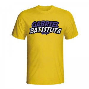 Gabriel Batistuta Comic Book T-shirt (yellow)