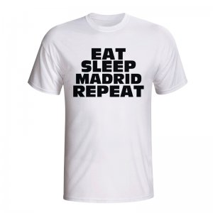 Eat Sleep Real Madrid Repeat T-shirt (white) - Kids