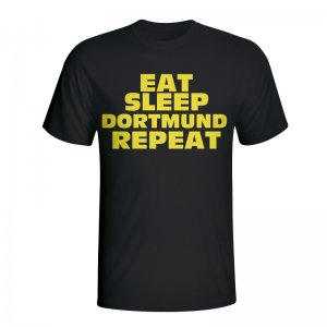 Eat Sleep Borussia Dortmund Repeat T-shirt (black)