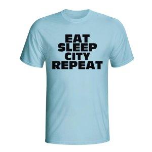 Eat Sleep Man City Repeat T-shirt (sky Blue) - Kids