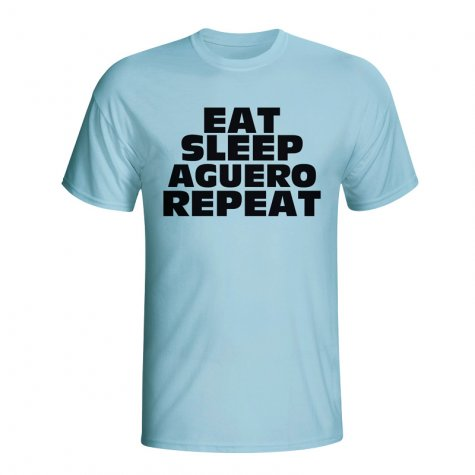 Eat Sleep Aguero Repeat T-shirt (sky Blue)