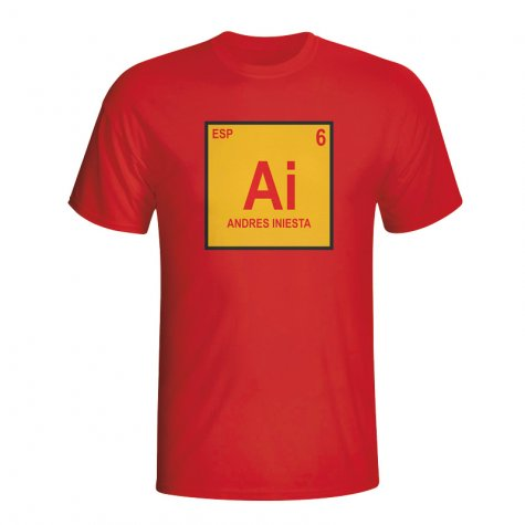 Andres Iniesta Spain Periodic Table T-shirt (red) - Kids