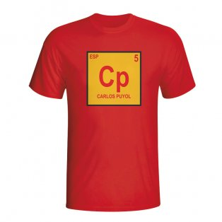 Carlos Puyol Spain Periodic Table T-shirt (red)