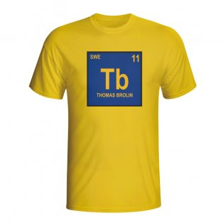 Thomas Brolin Sweden Periodic Table T-shirt (yellow)