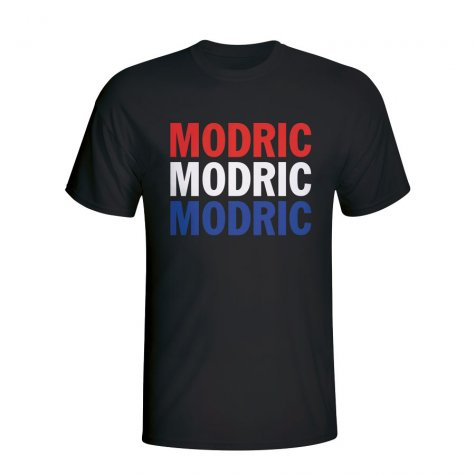 Luka Modric Croatia Player Flag T-shirt (black)