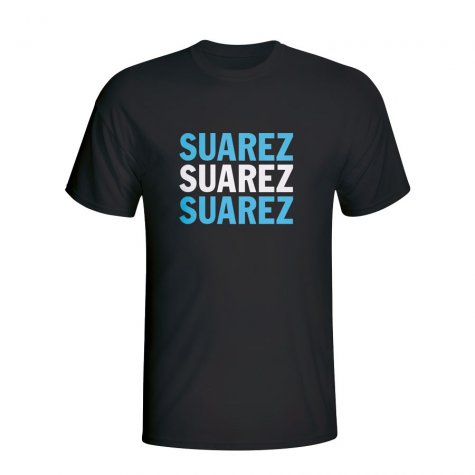 Luis Suarez Uruguay Player Flag T-shirt (black)