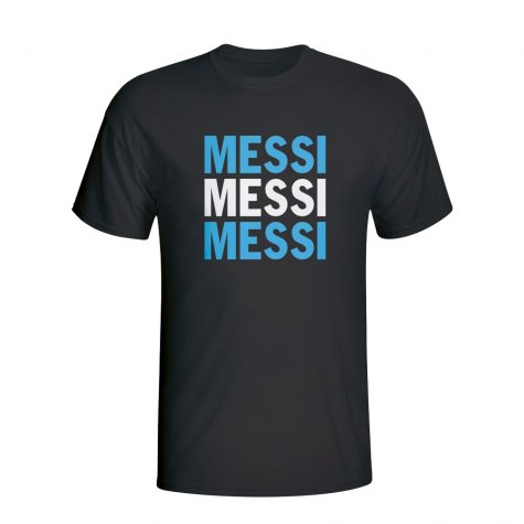 Lionel Messi Argentina Player Flag T-shirt (black)