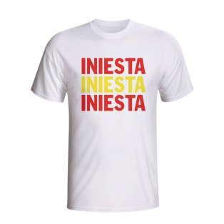 Andres Iniesta Spain Player Flag T-shirt (white) - Kids