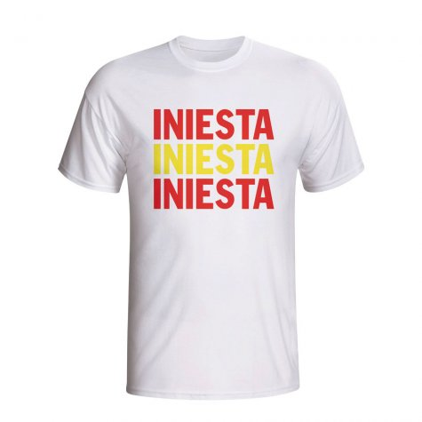 Andres Iniesta Spain Player Flag T-shirt (white)