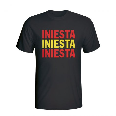 Andres Iniesta Spain Player Flag T-shirt (black) - Kids