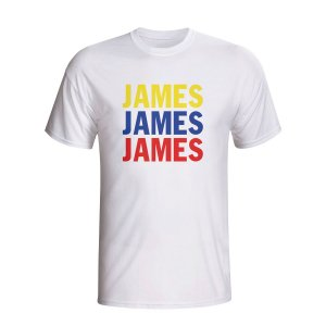 James Rodriguez Colombia Player Flag T-shirt (white) - Kids