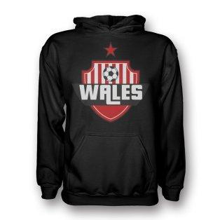 Wales Country Logo Hoody (black) - Kids