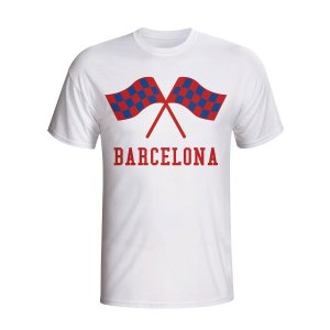Barcelona Waving Flags T-shirt (white)