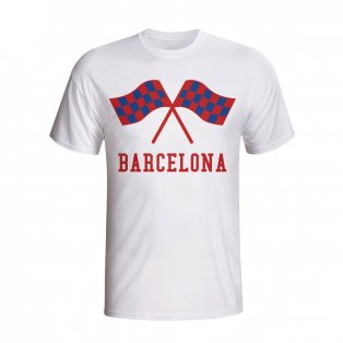 Barcelona Waving Flags T-shirt (white) - Kids