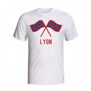 Lyon Waving Flags T-shirt (white) - Kids