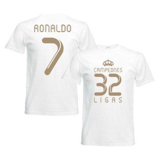 2012 Real Madrid Champions T-Shirt (White) - Ronaldo 7