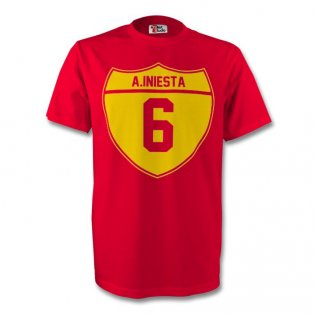 Andres Iniesta Spain Crest Tee (red) - Kids