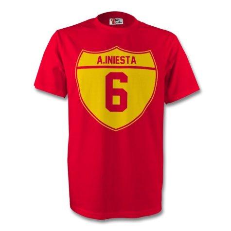 Andres Iniesta Spain Crest Tee (red) - Kids