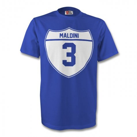 Paolo Maldini Italy Crest Tee (blue) - Kids
