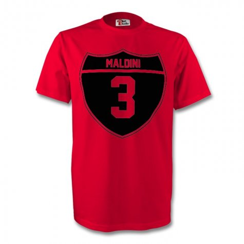 Paolo Maldini Ac Milan Crest Tee (red) - Kids