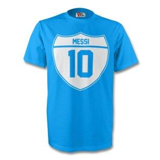 Lionel Messi Argentina Crest Tee (sky Blue) - Kids