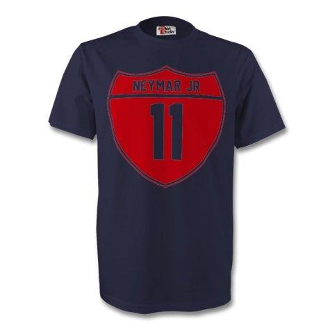 Neymar Jr Barcelona Crest Tee (navy) - Kids