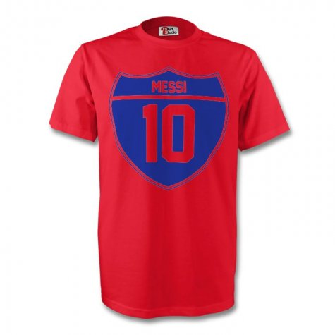 Lionel Messi Barcelona Crest Tee (red) - Kids