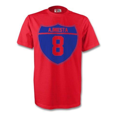 Andres Iniesta Barcelona Crest Tee (red) - Kids