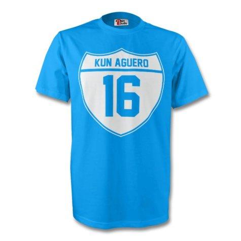Sergio Aguero Man City Crest Tee (sky Blue) - Kids