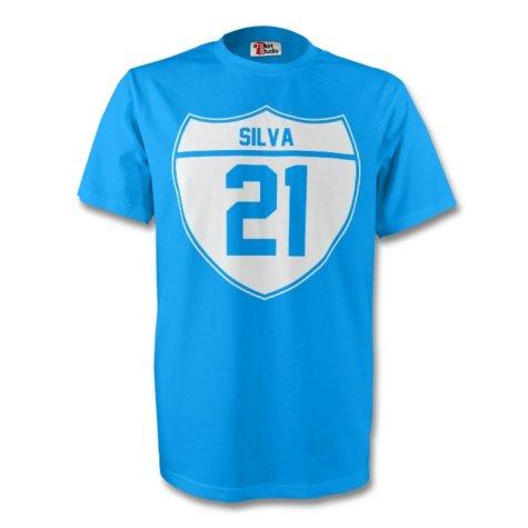 David Silva Man City Crest Tee (sky Blue)