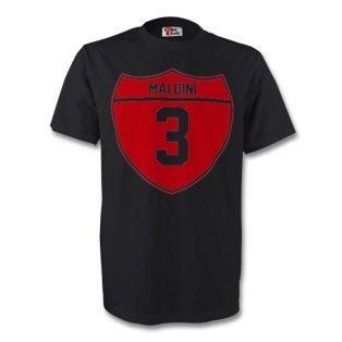 Paolo Maldini Ac Milan Crest Tee (black) - Kids