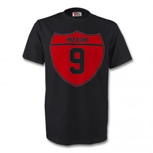Filippo Inzaghi Ac Milan Crest Tee (black) - Kids