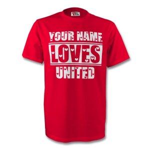 Your Name Loves Man Utd T-shirt (red)