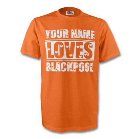 Your Name Loves Blackpool T-shirt (orange) - Kids