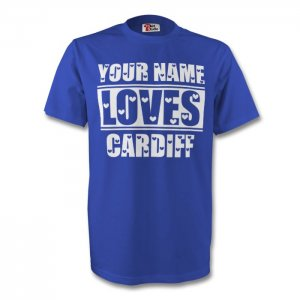 Your Name Loves Cardiff T-shirt (blue) - Kids